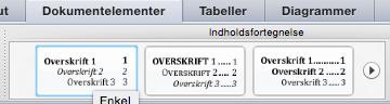 indholdsfortengelse i word mac