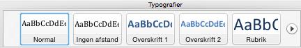 typografier overskrifter indholdsfortengelse word mac
