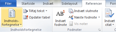 indholdsfortegnelse referencer word windows