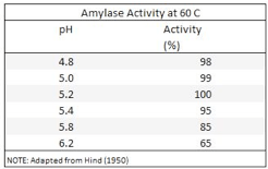 Amylases aktivitet i forhold til pH